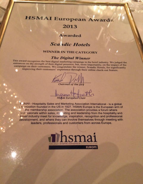 HSMAI European Awards 2013 - Scandic Hotels wins prize for its online check-out solution