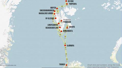 Map Hurtigruten cruise