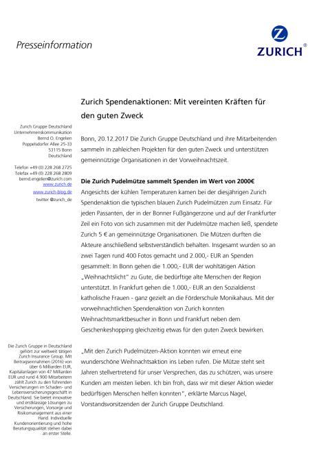 Zurich Spendenaktionen: Mit vereinten Kräften für den guten Zweck