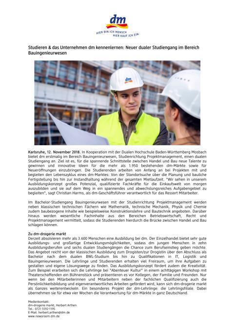 Pressemitteilung: Studieren & das Unternehmen dm kennenlernen: Neuer dualer Studiengang im Bereich Bauingenieurwesen