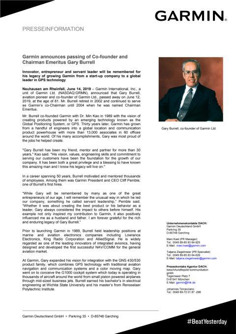 Garmin announces passing of Co-founder and Chairman Emeritus Gary Burrell