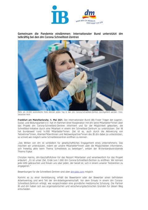Gemeinsam die Pandemie eindämmen: Internationaler Bund unterstützt dm tatkräftig bei den dm Corona-Schnelltest-Zentren
