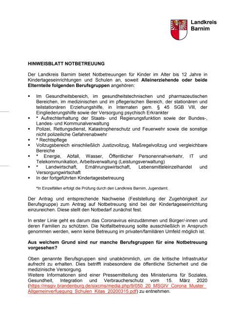 Hinweisblatt Notbetreuung LK Barnim