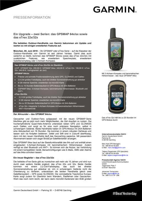 Ein Upgrade – zwei Serien: das GPSMAP 64x/sx sowie das eTrex 22x/32x
