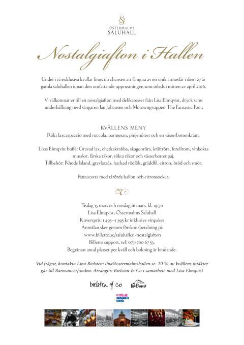 Nostalgiafton i Hallen, tisdag 15 mars och onsdag 16 mars, kl. 19.30 ( Uppdaterad information )