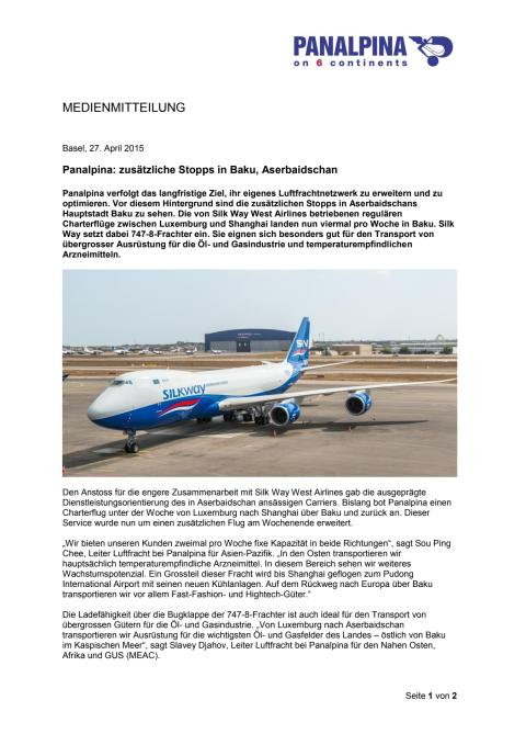 Panalpina: zusätzliche Stopps in Baku, Aserbaidschan