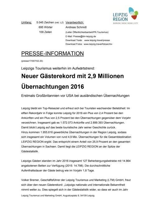 Pressemitteilung: Gästestatistik Leipzig 2016