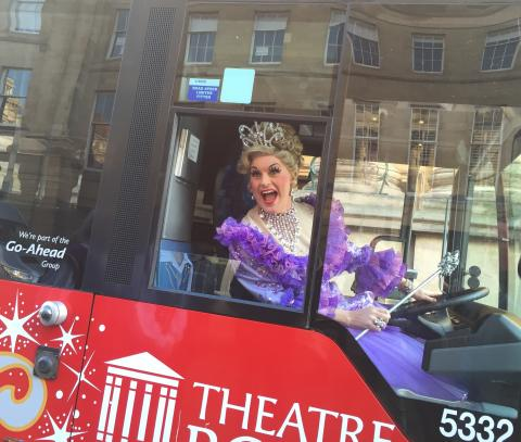 Fairy Godmother drives the panto bus 2
