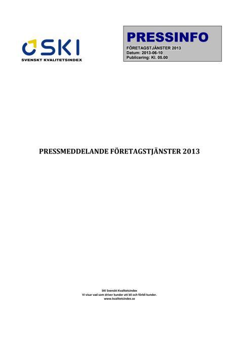 SVENSKT KVALITETSINDEX OM FÖRETAGSTJÄNSTER 2013