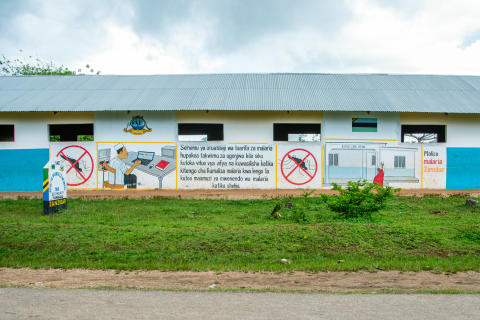 Malaria warnings on a school in Zanzibar