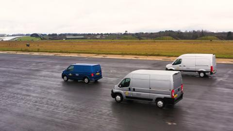 Commercial vans in testing at the Thatcham Research active safety testing facility 2