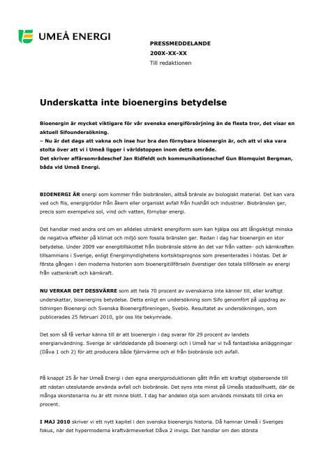 Underskatta inte bioenergins betydelse