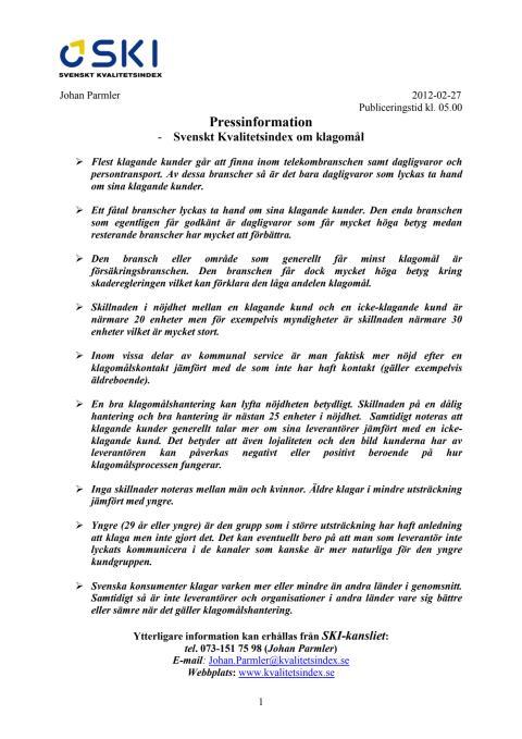 Svenskt Kvalitetsindex om klagomål