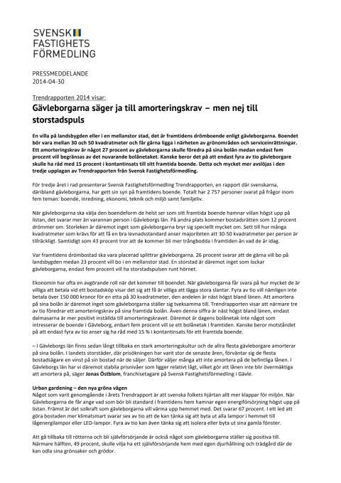 Trendrapporten 2014: Gävleborgarna säger ja till amorteringskrav – men nej till storstadspuls