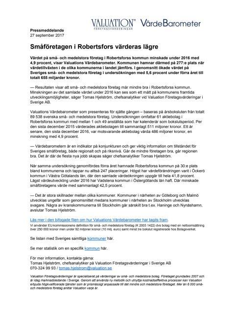 Värdebarometern 2017 Robertsfors kommun