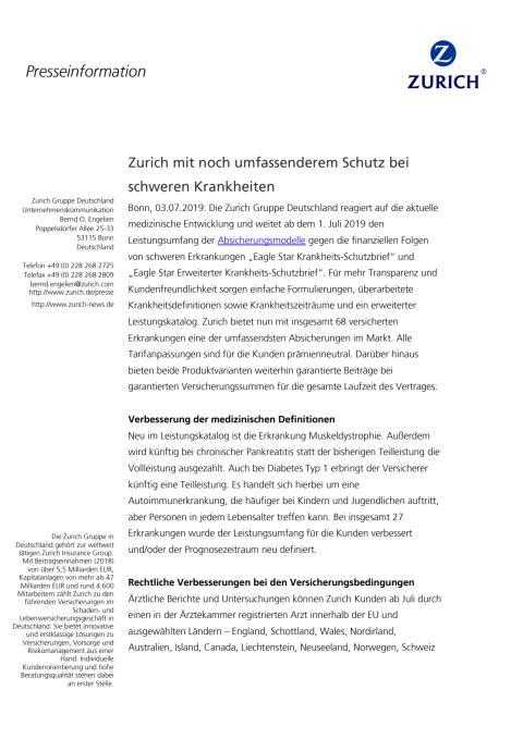 Zurich verbessert Schutz bei schweren Krankheiten