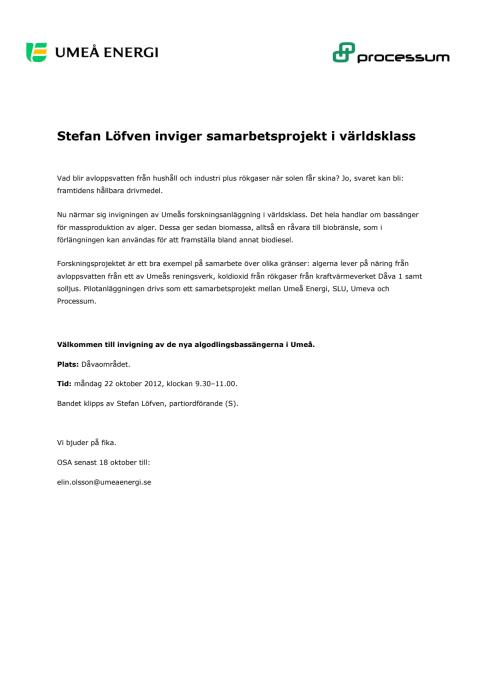 Inbjudan: Stefan Löfven inviger samarbetsprojekt i världsklass
