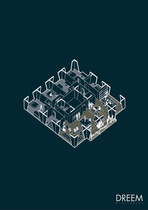 Detalj från förslaget ' Collective Geometries', bostadsdel med gemensamma utrymmen.