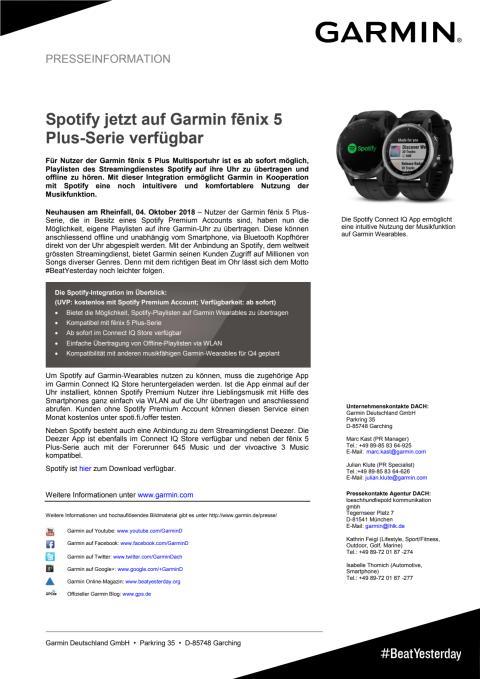 Spotify jetzt auf Garmin fēnix 5 Plus-Serie verfügbar
