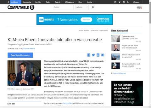 Computable.nl: KLM-ceo Elbers: Innovatie lukt alleen via co-creatie