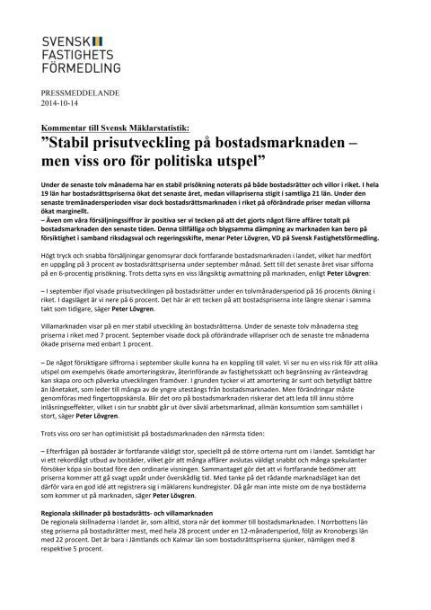 """Kommentar till Svensk Mäklarstatistik: """"Stabil prisutveckling på bostadsmarknaden – men viss oro för politiska utspel"""""""