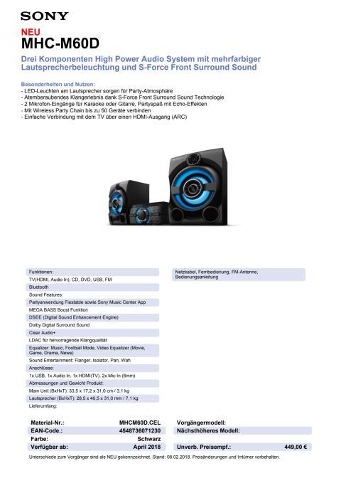 Datenblatt Audio System MHC-M60D von Sony