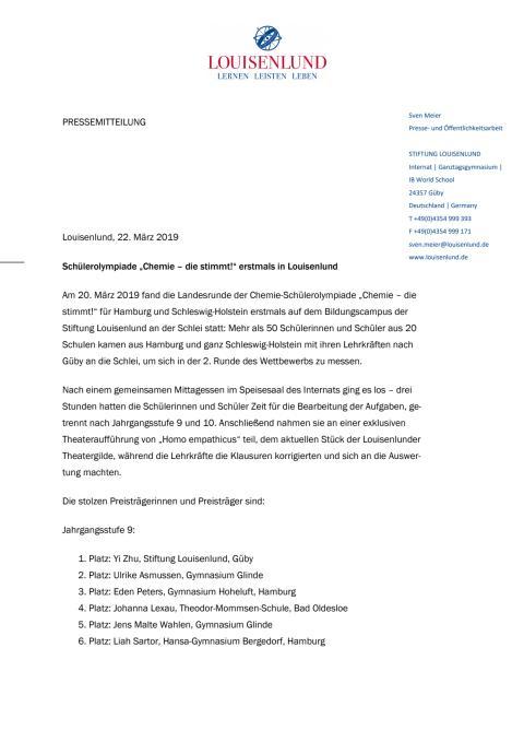 """Pressemitteilung: Schülerolympiade """"Chemie – die stimmt!"""" erstmals in Louisenlund"""