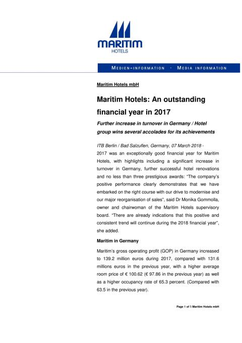 Maritim Hotels: An outstanding financial year in 2017