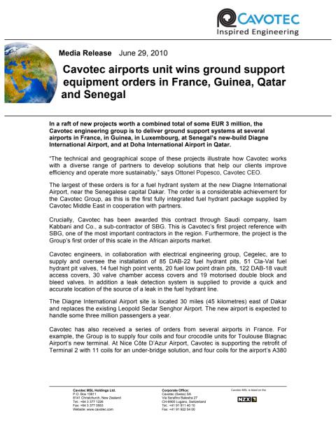 Cavotec airports unit wins ground support equipment orders in France, Guinea, Qatar and Senegal