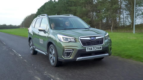 Award judges Matthew Avery and Claire Evans testing Subaru's award winning DriverFocus system