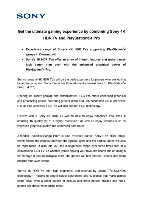 Sony 4K HDR and PS4 Pro