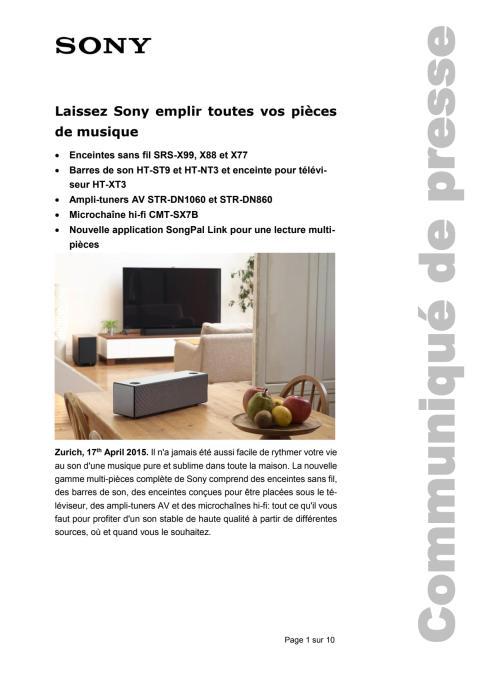 Communiqué de presse_Sony_Multiroom_150414_F-CH