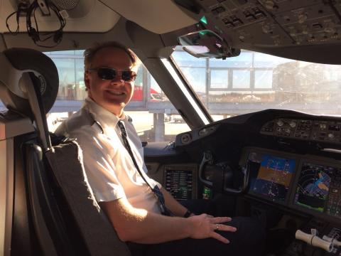 Captain Harold van Dam in command of the record-breaking transatlantic flight from New York to London