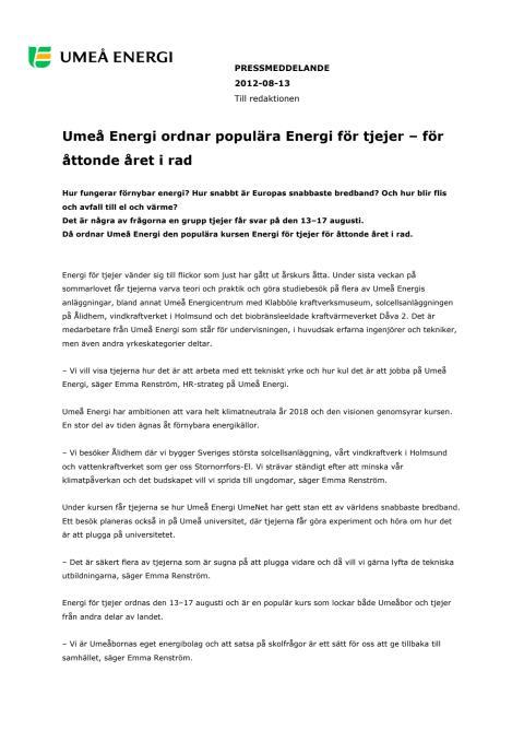 Umeå Energi ordnar populära Energi för tjejer – för åttonde året i rad