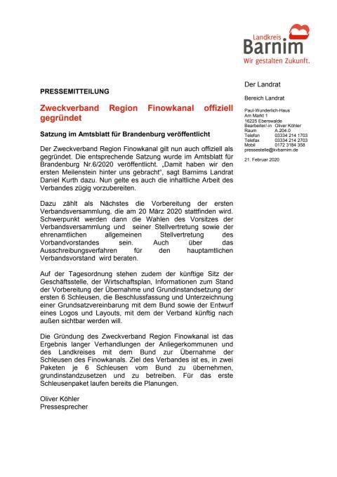 Zweckverband Region Finowkanal offiziell gegründet