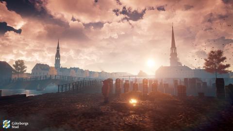 Bild ur VR-modellen över 1600-talets Göteborg