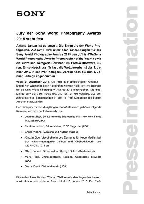 """Pressemitteilung """"Jury der Sony World Photography Awards steht fest"""""""