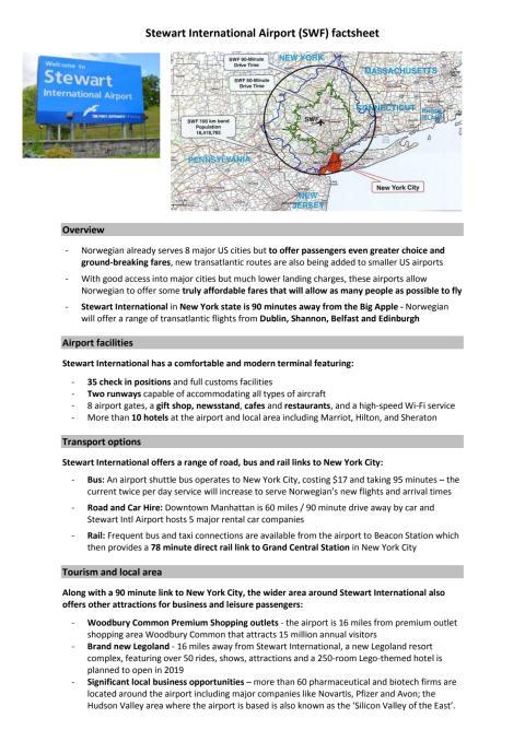 Stewart International Airport factsheet