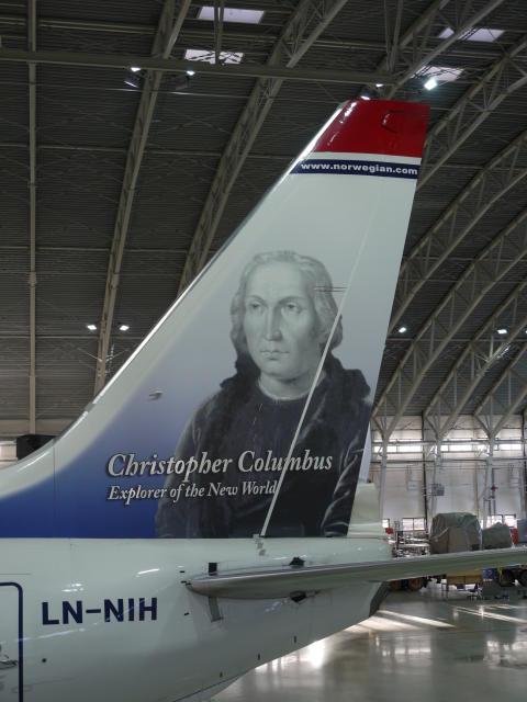 Chistopher Columbus' tail hero (LN-NIH) at Norwegian's hangar in Oslo.