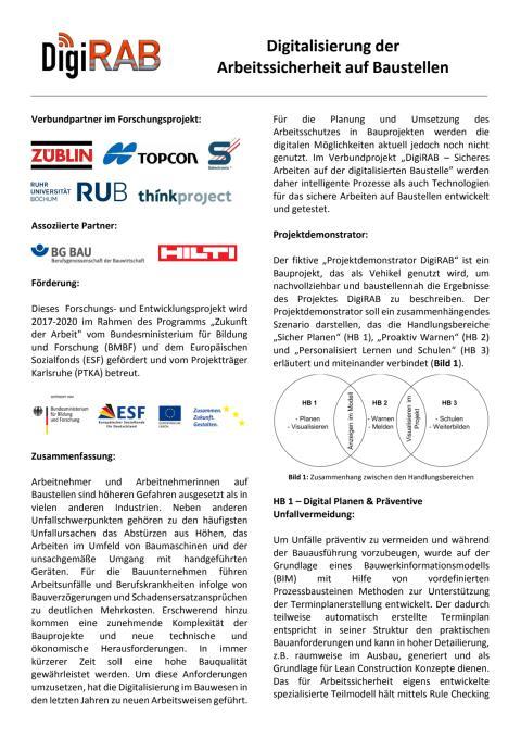Forschungsprojekt DigiRAB - Digitalisierung der Arbeitssicherheit auf Baustellen