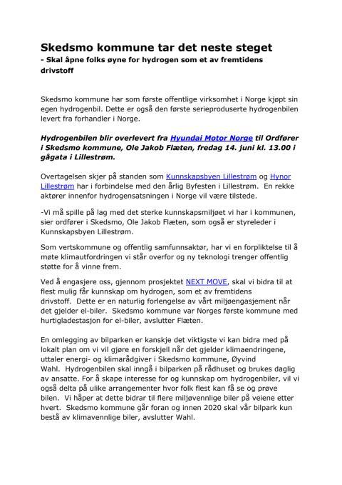 ix35 hydrogenbil - pressemelding fra Skedsmo kommune