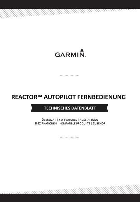 Datenblatt Garmin Reactor Autopilot Fernbedienung