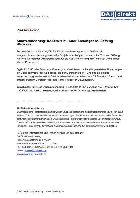 Autoversicherung: DA Direkt ist klarer Testsieger bei Stiftung Warentest
