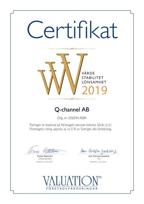 Q-channel´s rating uppnås för andra året i rad av ca 5 % av Sveriges alla aktiebolag enligt Valuation Företagsvärderingar i Sverige AB.