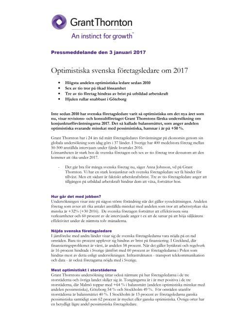Optimistiska svenska företagsledare om 2017