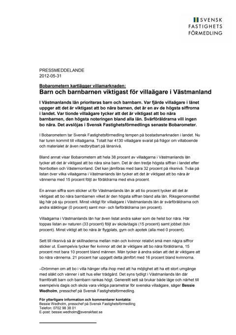Bobarometern: Barn och barnbarnen viktigast för villaägare i Västmanland