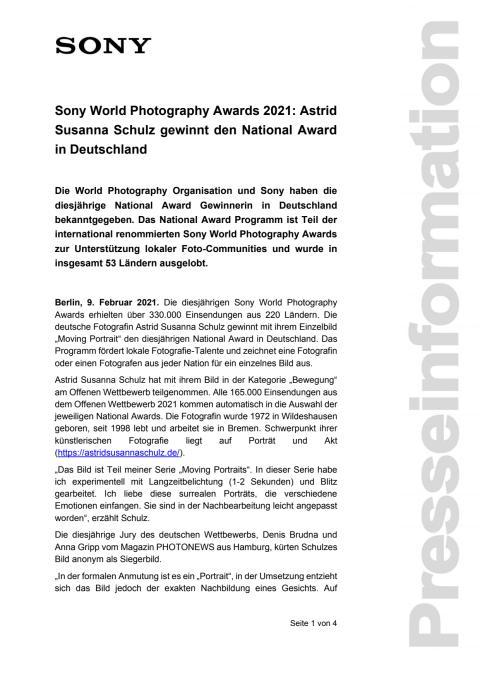 Sony World Photography Awards 2021: Astrid Susanna Schulz gewinnt den National Award in Deutschland