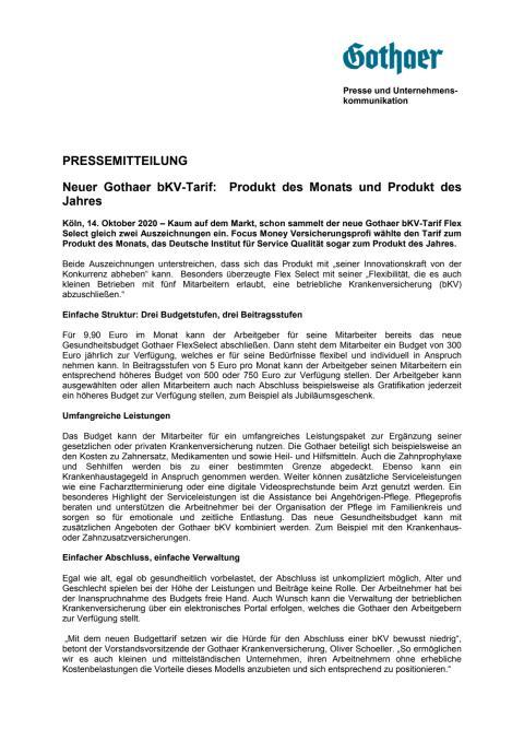 Neuer Gothaer bKV-Tarif:  Produkt des Monats und Produkt des Jahres