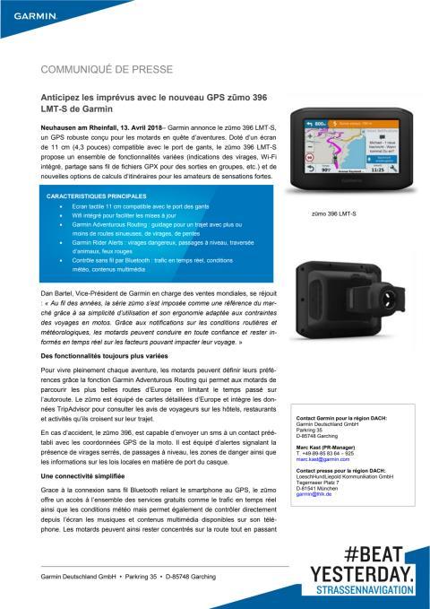Anticipez les imprévus avec le nouveau GPS zūmo 396 LMT-S de Garmin