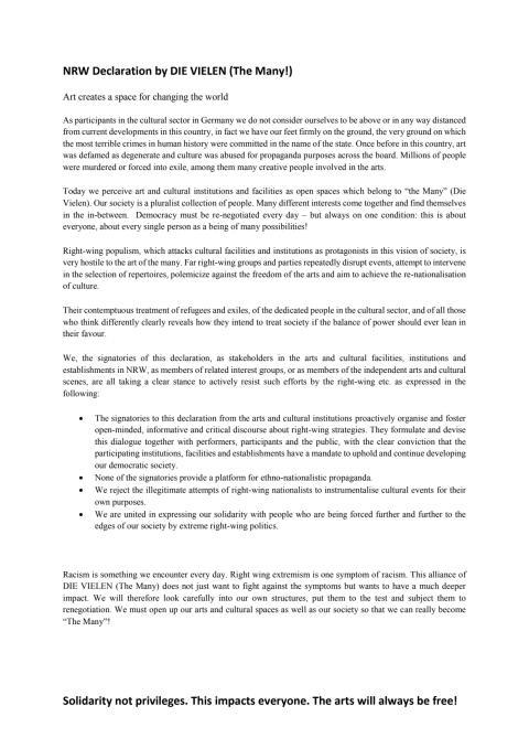 NRW-Erklärung der Vielen & Selbstverpflichtung (EN)